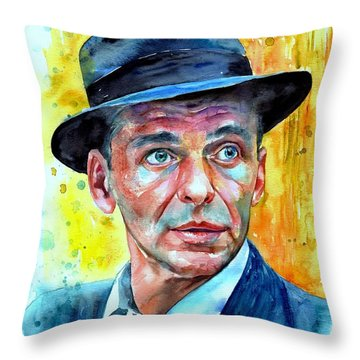 Frank Sinatra In Blue Fedora Throw Pillow