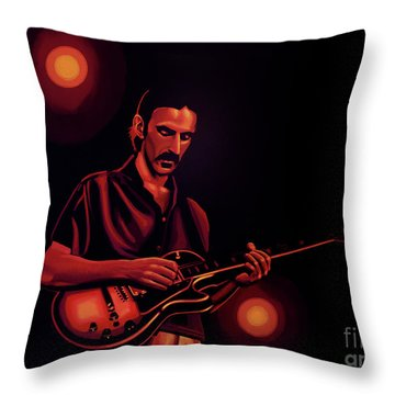 Frank Zappa 2 Throw Pillow by Paul Meijering