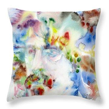 Frank Zappa - Watercolor Portrait.7 Throw Pillow