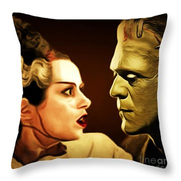 Frankenstein And The Bride I Have Love In Me The Likes Of Which You Can Scarcely Imagine 20170407 Sq Throw Pillow