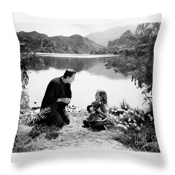 Frankenstein By The Lake With Little Girl Boris Karoff Throw Pillow