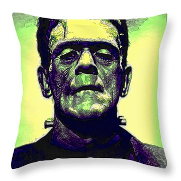 Frankenstein In Color Throw Pillow by Joan  Minchak
