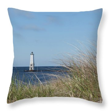 Throw Pillow featuring the photograph Frankfort North Breakwater Lighthouse by Fran Riley