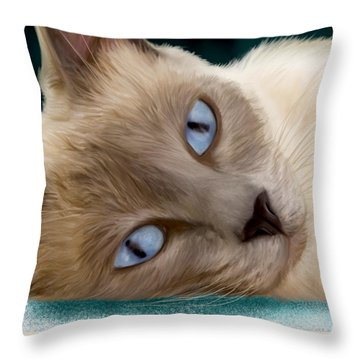 Frankie Blue Eyes Throw Pillow