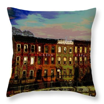 Franklin Ave. Bk Throw Pillow by Iowan Stone-Flowers