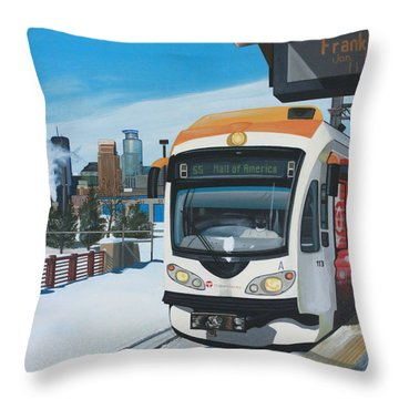 Franklin Avenue Station Throw Pillow