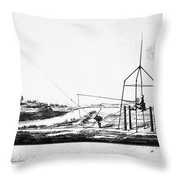 Franklin: Kite, 1788 Throw Pillow by Granger