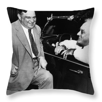Franklin Roosevelt And Fiorello Laguardia In Hyde Park - 1938 Throw Pillow