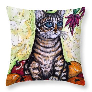 Franky With Apples And Oranges Throw Pillow