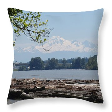 Fraser River And Mount Baker Throw Pillow