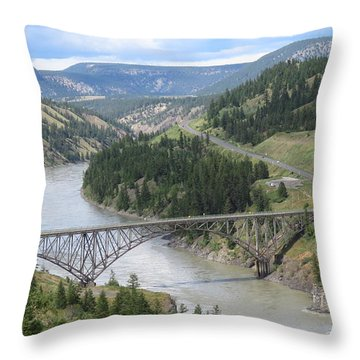 Fraser River Bridge Near Williams Lake Throw Pillow
