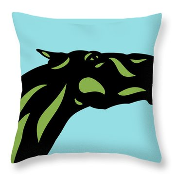 Fred - Pop Art Horse - Black, Greenery, Island Paradise Blue Throw Pillow