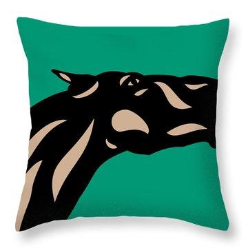 Fred - Pop Art Horse - Black, Hazelnut, Emerald Throw Pillow