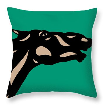 Fred - Pop Art Horse - Black, Hazelnut, Emerald Throw Pillow