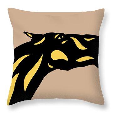 Fred - Pop Art Horse - Black, Primrose Yellow, Hazelnut Throw Pillow