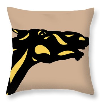 Fred - Pop Art Horse - Black, Primrose Yellow, Hazelnut Throw Pillow