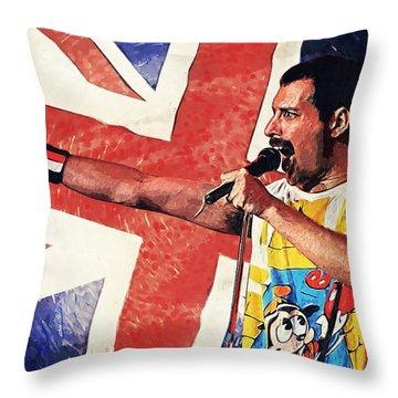 Freddie Mercury Throw Pillow by Taylan Apukovska