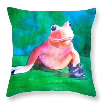 Throw Pillow featuring the painting Freddy The Frog by Sharon Mick
