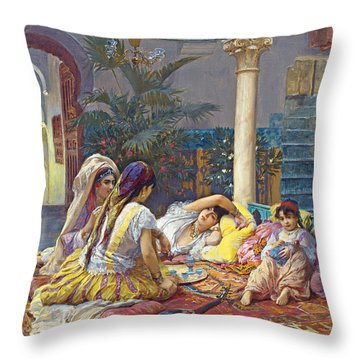 Frederick Arthur Bridgman Harem Throw Pillow by Munir Alawi