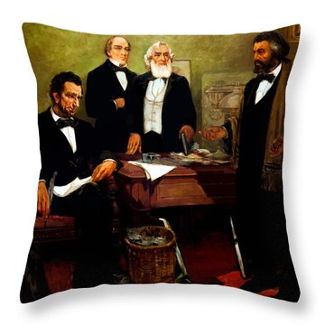 Frederick Douglass Appealing To President Lincoln Throw Pillow