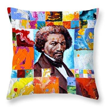 Frederick Douglass Throw Pillow by John Lautermilch