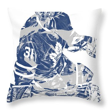 Frederik Andersen Toronto Maple Leafs Pixel Art 1 Throw Pillow