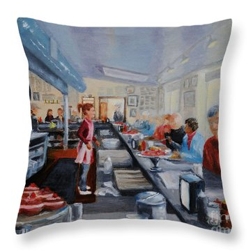 Fred's Breakfast Of New Hope Throw Pillow by Cindy Roesinger
