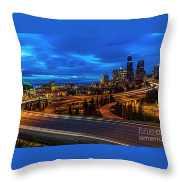 Freeway 5 North To Seattle Throw Pillow