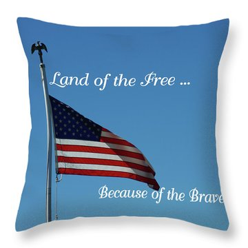 Free Because Of Brave Throw Pillow by Robyn Stacey