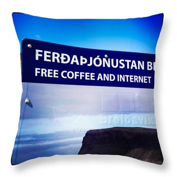 Free Coffee And Internet - Sign In Iceland Throw Pillow by Matthias Hauser