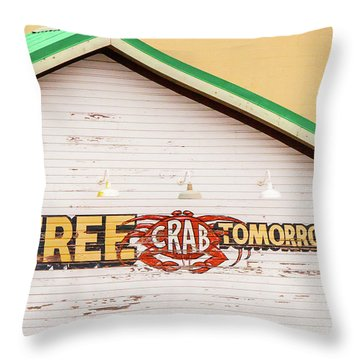 Throw Pillow featuring the photograph Free Crabs Tomorrow by Art Block Collections