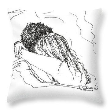 Throw Pillow featuring the drawing Free Hugs Bw by Denise Fulmer