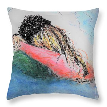 Throw Pillow featuring the mixed media Free Hugs by Denise Fulmer