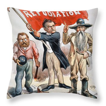 Free Silver Cartoon, 1896 Throw Pillow by Granger