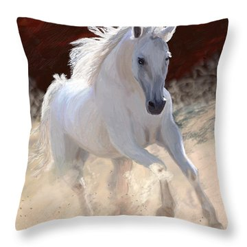White Free Spirit Horse Throw Pillow