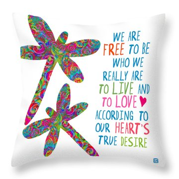 Throw Pillow featuring the painting Free To Be by Lisa Weedn