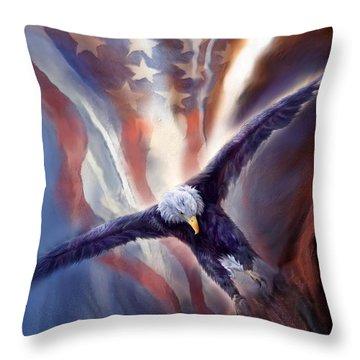 Freedom Eagle Throw Pillow by Carol Cavalaris
