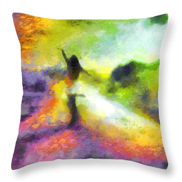 Freedom In The Rainbow Throw Pillow