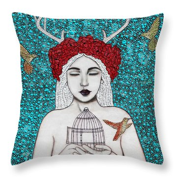 Throw Pillow featuring the mixed media Freedom by Natalie Briney