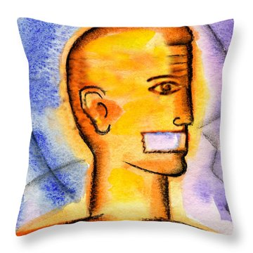 Throw Pillow featuring the painting Freedom Of Press  by Leon Zernitsky