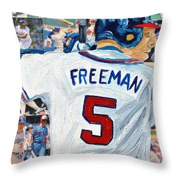 Freeman At Bat Throw Pillow by Michael Lee