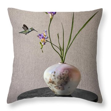Freesias In A Raku Vase Throw Pillow
