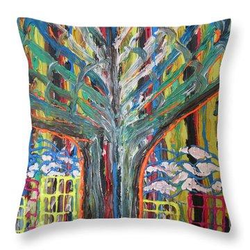 Freetown Cotton Tree - Abstract Impression Throw Pillow by Mudiama Kammoh