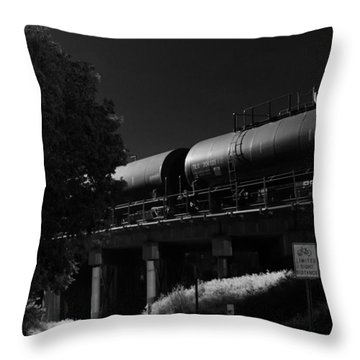Freight Over Bike Path Throw Pillow