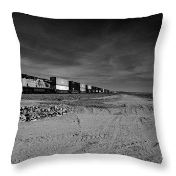 Freight Train Along  Salton Sea Throw Pillow