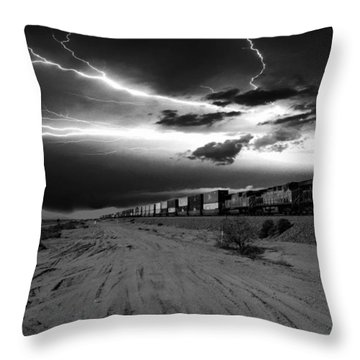Freight Train Lighting Throw Pillow
