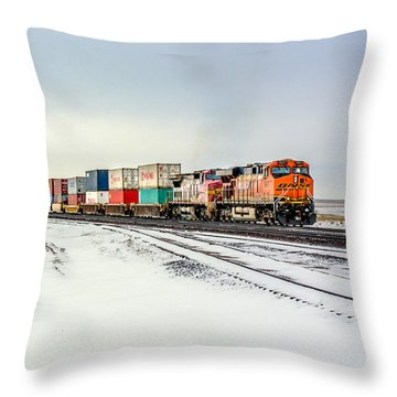 Freight Train Throw Pillow