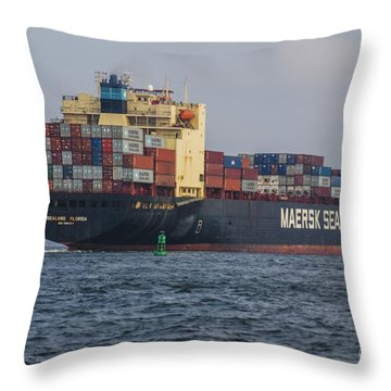 Freighter Headed Out To Sea Throw Pillow