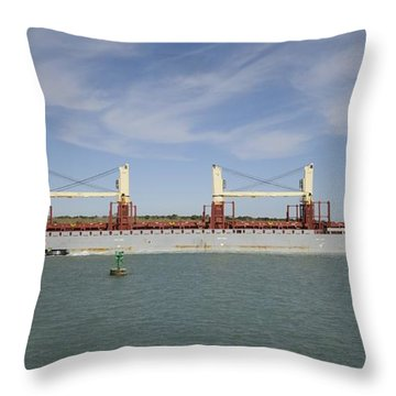 Throw Pillow featuring the photograph Freighter Heading To Port by Bradford Martin