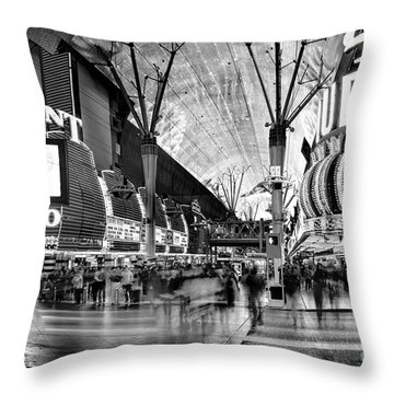 Fremont Street Casinos Bw Throw Pillow